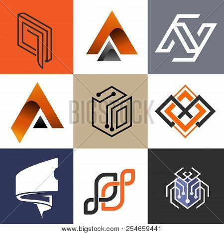 Abstract Logo Collection, Modern Logo Flat Color Combinations, Industrial Logo, Business And Technol