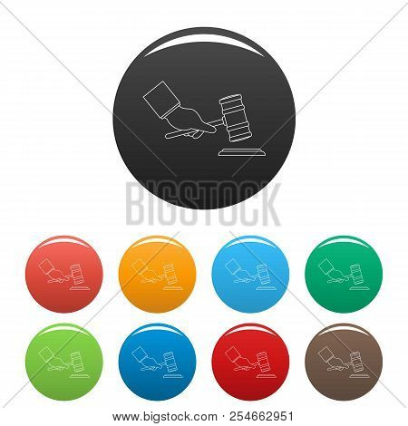 Gavel In Hand Icon. Outline Illustration Of Gavel In Hand Icons Set Color Isolated On White