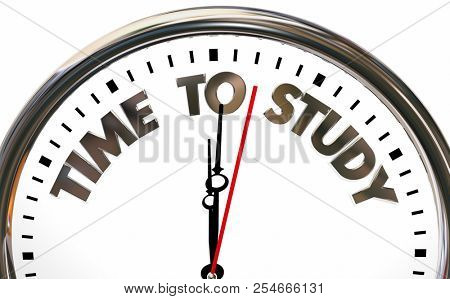 Time to Study School Prepare Test Class Education Clock 3d Illustration