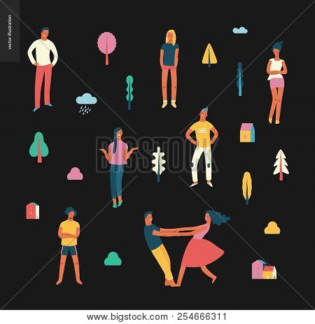 Bright People Portraits Pattern - Young Men And Women - Set Of Various Posing People In Fashion Colo