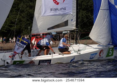 ST. PETERSBURG, RUSSIA - AUGUST 3, 2018: Team from Sweden compete in Semifinal 2 of Sailing Champions League. 25 sailing teams participate in the competitions