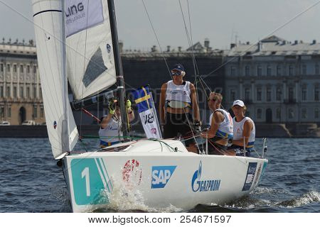 ST. PETERSBURG, RUSSIA - AUGUST 3, 2018: Team Hjuviks Batklubb from Sweden compete in Semifinal 2 of Sailing Champions League. 25 sailing teams participate in the competitions
