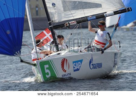 ST. PETERSBURG, RUSSIA - AUGUST 3, 2018: Team Frederikshavn Sejlklub from Denmark compete in Semifinal 2 of Sailing Champions League. 25 sailing teams participate in the competitions