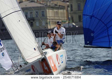 ST. PETERSBURG, RUSSIA - AUGUST 3, 2018: Team Mariehamns Seglarforening from Finland compete in Semifinal 2 of Sailing Champions League. 25 sailing teams participate in the competitions