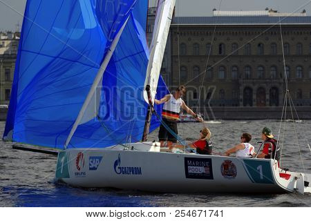 ST. PETERSBURG, RUSSIA - AUGUST 3, 2018: Team Segelkameradschaft Wappen von Bremen from Germany compete in Semifinal 2 of Sailing Champions League. 25 sailing teams participate in the competitions