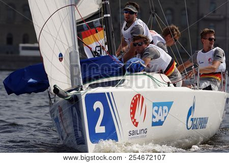ST. PETERSBURG, RUSSIA - AUGUST 3, 2018: Team Norddeutscher Regatta Verein from Germany compete in Semifinal 2 of Sailing Champions League. 25 sailing teams participate in the competitions
