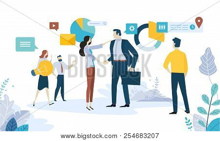Vector Illustration Concept Of Social Media, Networking, Online Communication, Seo, Internet Adverti