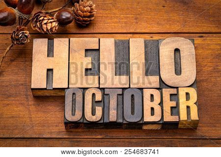 Hello October - word abstract in vintage letterpress wood type blocks against grunge wooden background with a fall decoration