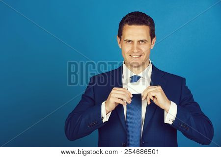 Manager, Handsome Man Or Successful Businessman Smiling With Bank Or Business Card In Stylish Formal