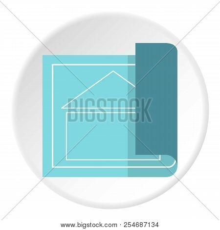 Architectural Design Of House Icon. Flat Illustration Of Architectural Design Of House Icon For Web