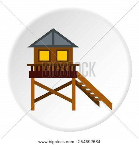 Rescue Booth On Beach Icon. Flat Illustration Of Rescue Booth On Beach Icon For Web