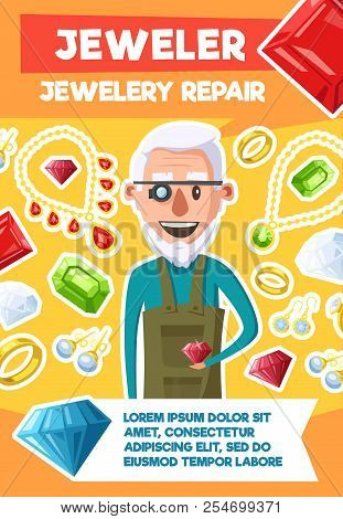 Jeweler Or Jewelry Repair Profession Poster Of Old Man Expert And Bijou Gemstones. Vector Cartoon De