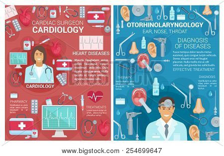 Cardiology And Otorhinolaryngology Medical Clinic Posters. Vector Cardiologist Surgeon And Otolaryng