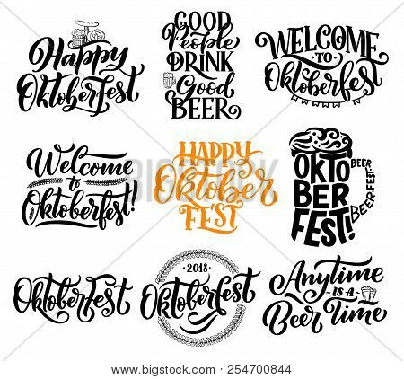 Oktoberfest Lettering Calligraphy For Traditional Bavarian Beer Festival. Vector Design Of Beer Glas