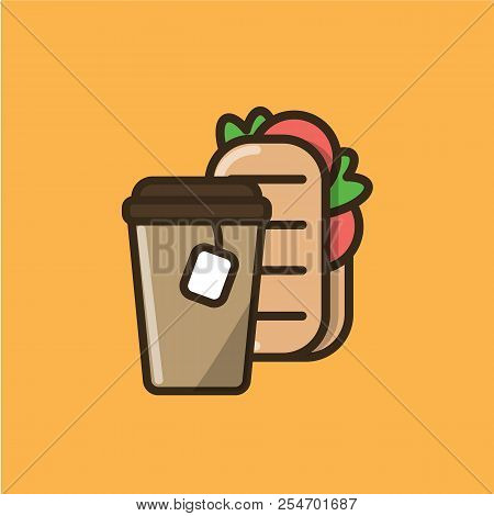 Tea Drink In Paper Cup With Cap And Tea Bag And Ciabatta Sandwich. Colorful Isolated Vector Icon In