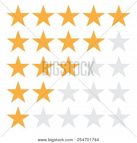 5 Star Rating Icon Vector Illustration Eps10. 5 Star Rating Sign On White Background. Flat Style. 5
