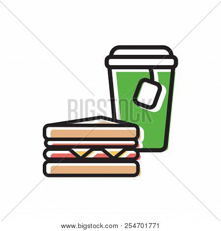 Tea Drink In Paper Cup With Cap And Tea Bag And Classical Sandwich. Colorful Isolated Vector Icon In