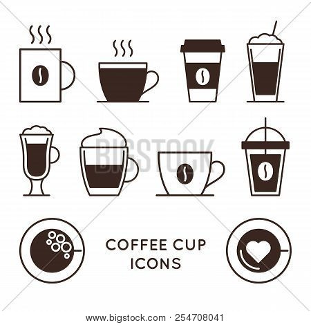 Coffee And Tea Cups Linear Icons Set. Disposable Coffee Cup And Hot Drink Mug Vector Symbols. Coffee
