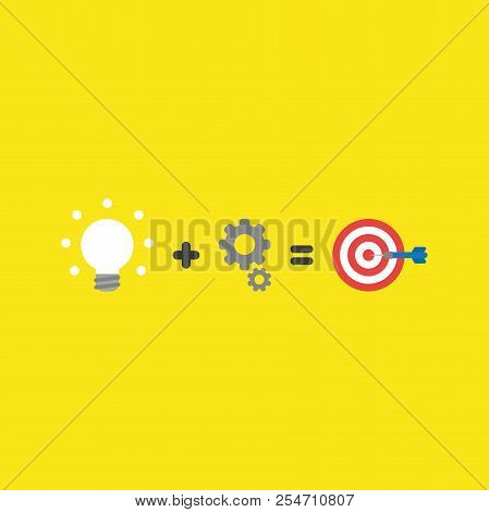 Flat Vector Icon Concept Of Glowing Light Bulb Plus Gears Equals Bulls Eye And Dart In The Center On