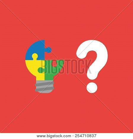 Flat Vector Icon Concept Of Three Connected Light Bulb Puzzle Pieces, One Missing And Question Mark