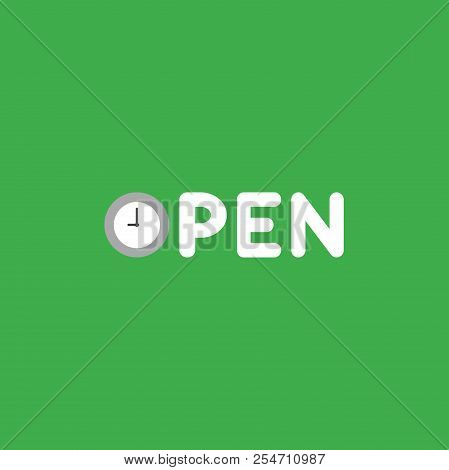 Flat Vector Icon Concept Of Open Word With Clock On Green Background.