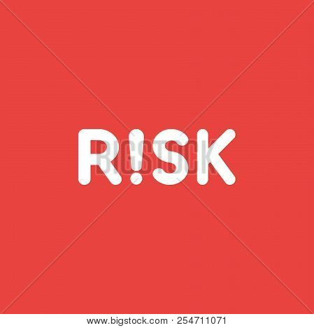 Flat Vector Icon Concept Of Risk Word With Exclamation Mark On Red Background.