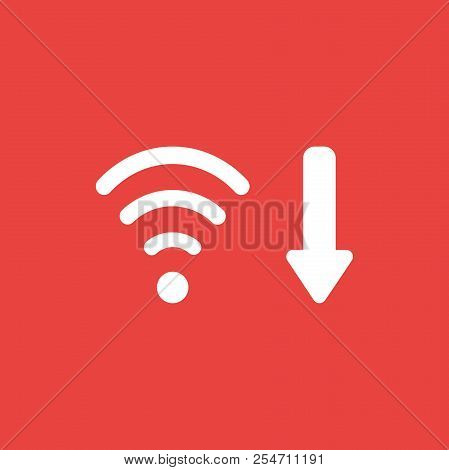 Flat Vector Icon Concept Of Wireless Wifi Symbol With Arrow Moving Down On Red Background.