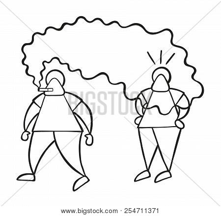 Vector Illustration Cartoon Man Character Walking And Bothering Other Man With Smoke Of Cigarette.