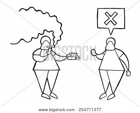 Vector Illustration Cartoon Man Character Smoking And Offering Cigarette To Other Man And Says No.
