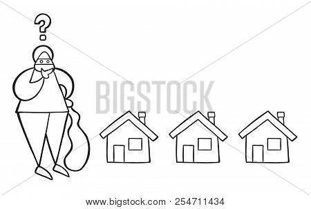 Vector Illustration Cartoon Thief Man With Face Masked With Sack And Thinking Which House To Choose