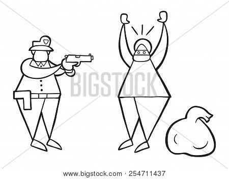 Vector Illustration Cartoon Thief Man With Face Masked And Sack Was Caught By Police.