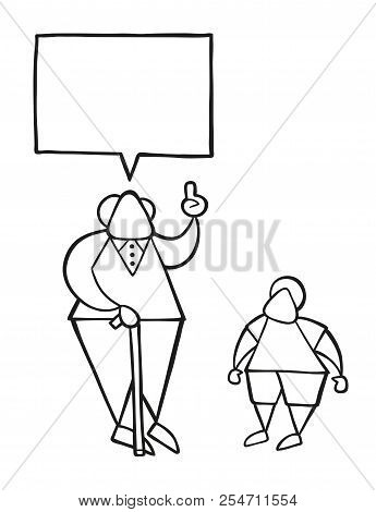 Vector Illustration Cartoon Old Man With Walking Stick, Talking To His Grandson And Advising.