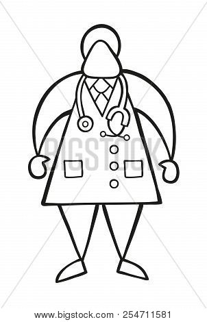 Vector Illustration Cartoon Doctor Man Standing With Stethoscope.