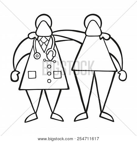 Vector Illustration Cartoon Doctor Man And Patient Friendly And Hugging.