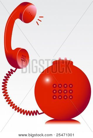 Vector illustration of a red telephone