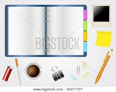 Desktop and diary with coffee cup, cigarette and  office supplies.