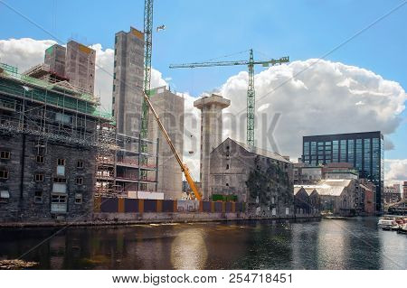 Construction View With Cranes In The City. Ireland