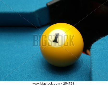 One Ball On Billiards Table