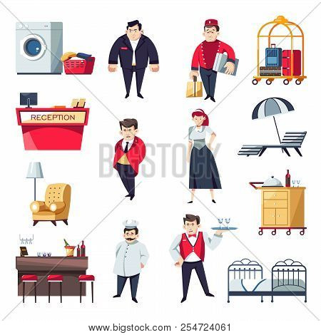 Hotel Service Personnel And Interior Furniture. Vector Cartoon Characters Of Security Man