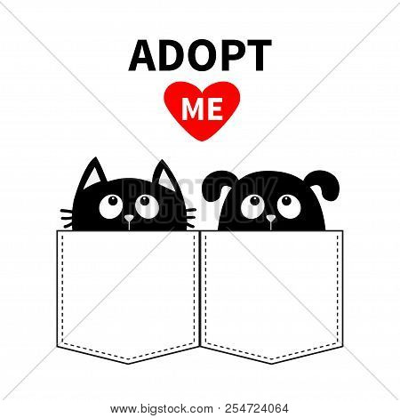 poster of Adopt me. Dont buy. Dog Cat in the pocket. Pet adoption. Puppy pooch kitty cat looking up to red heart. Flat design. Help homeless animal concept. White background. Isolated. Vector illustration