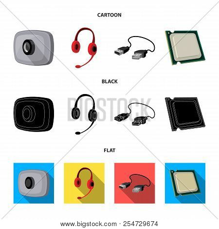 Webcam, Headphones, Usb Cable, Processor. Personal Computer Set Collection Icons In Cartoon, Black,
