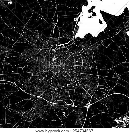 Area Map Of Odense, Denmark. Dark Background Version For Infographic And Marketing Projects. This Ma