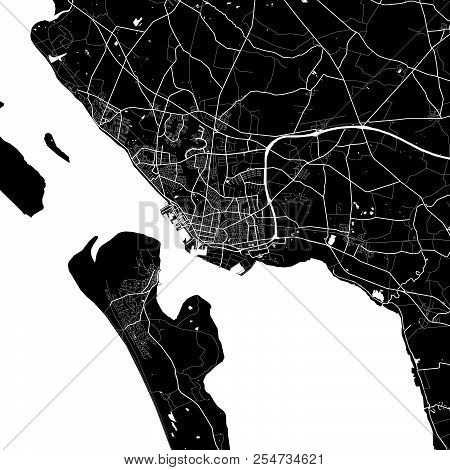 Area Map Of Esbjerg, Denmark. Dark Background Version For Infographic And Marketing Projects. This M