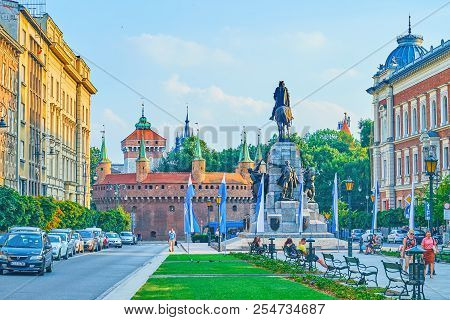 Krakow, Poland - June 11, 2018: The View On The Monument, Dedicated To Grunwald Victory And Huge Med