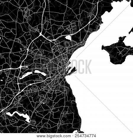 Area Map Of Aarhus, Denmark. Dark Background Version For Infographic And Marketing Projects. This Ma