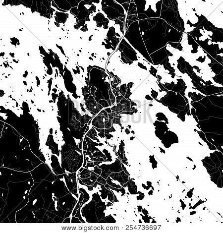 Area Map Of Kuopio, Finland. Dark Background Version For Infographic And Marketing Projects. This Ma