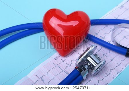 Blank Rx Prescription, Stethoscope And Red Heart. Concept For Healthcare And Medicine.