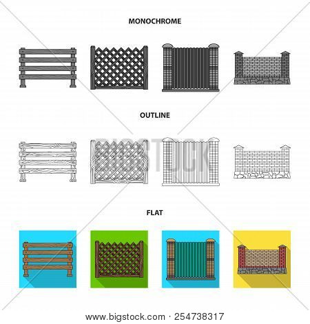 A Fence Of Metal And Bricks, Wooden Palisade. A Different Fence Set Collection Icons In Flat, Outlin