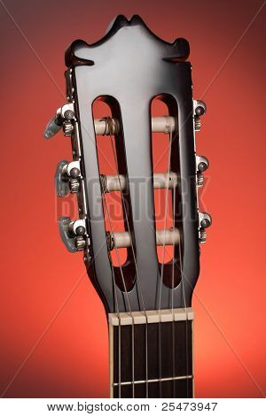 Close up of classic guitar head stock