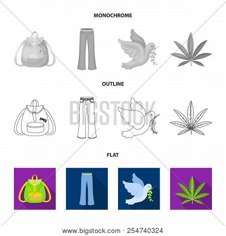 A Cannabis Leaf, A Dove, Jeans, A Backpack.hippy Set Collection Icons In Flat, Outline, Monochrome S